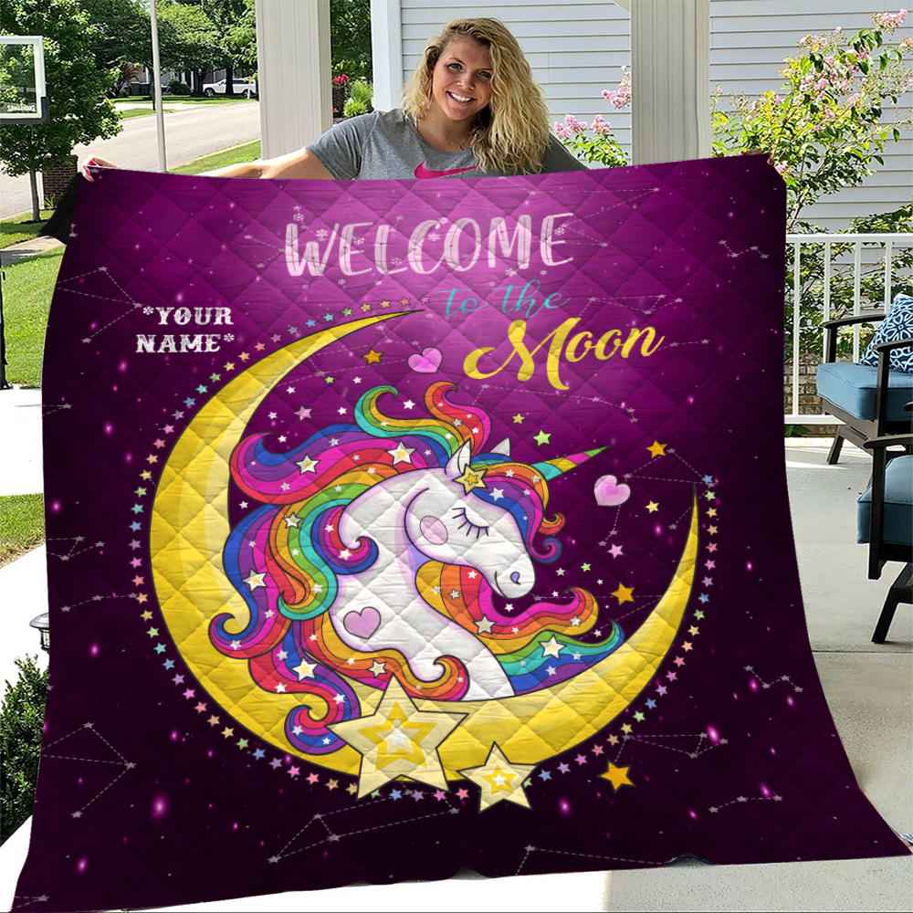 Personalized Quilt Throw Blanket Unicorn Welcome To The Moon Pattern 1 Lightweight Super Soft Cozy For Decorative Couch Sofa Bed