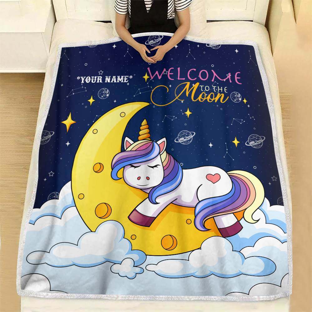 Personalized Fleece Throw Blanket Unicorn Welcome To The Moon Pattern 2 Lightweight Super Soft Cozy For Decorative Couch Sofa Bed