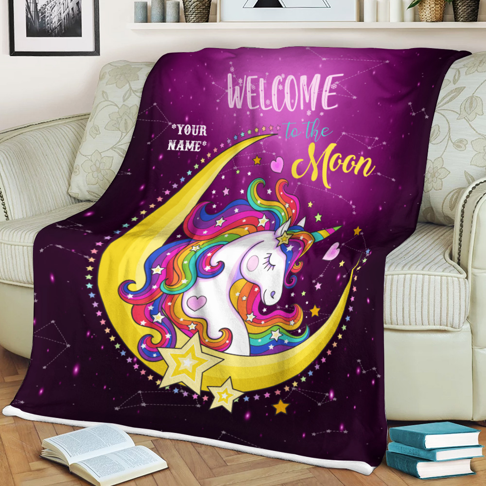 Personalized Fleece Throw Blanket Unicorn Welcome To The Moon Pattern 1 Lightweight Super Soft Cozy For Decorative Couch Sofa Bed