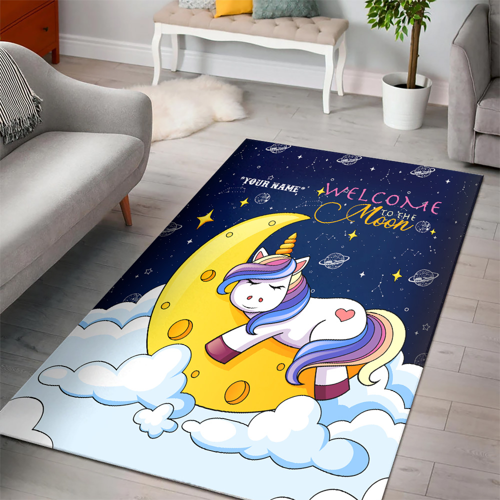 Personalized Floor Area Rugs Unicorn Welcome To The Moon Pattern 2 Indoor Home Decor Carpets Suitable For Children Living Room Bedroom Birthday Christmas Aniversary
