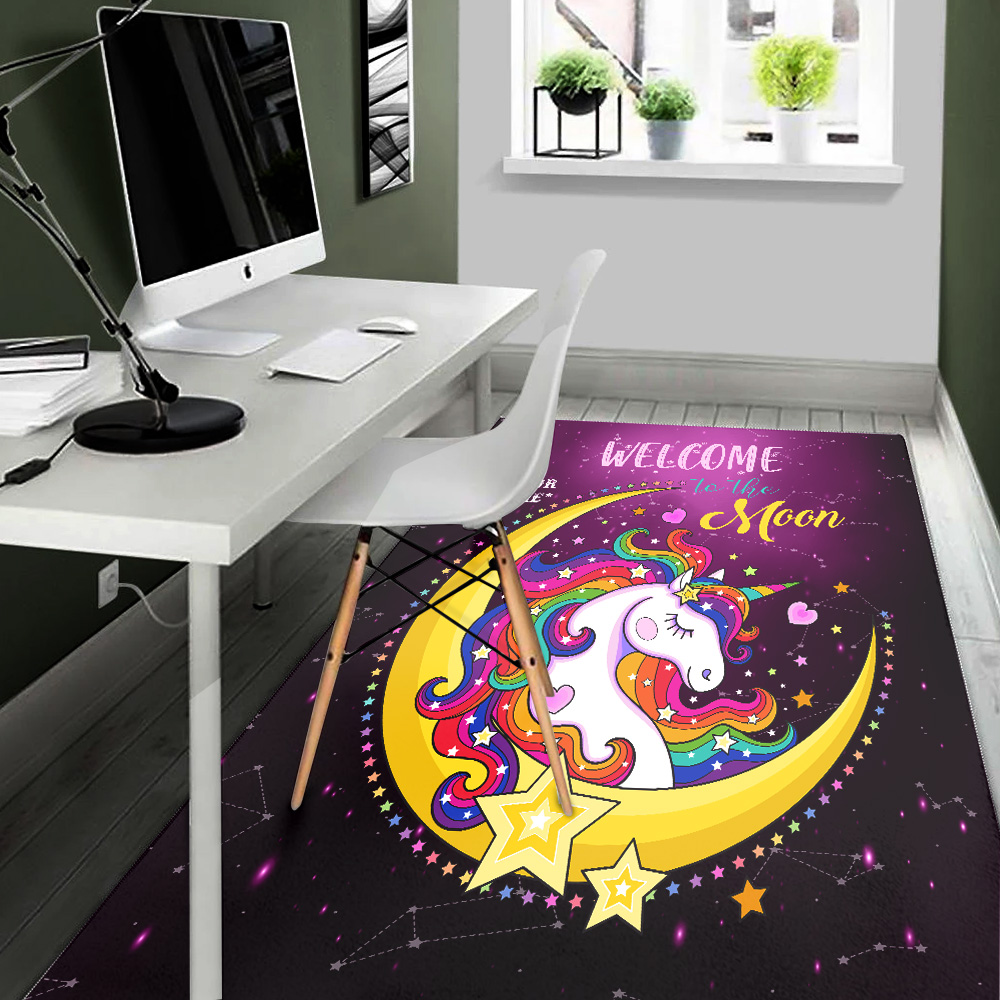 Personalized Floor Area Rugs Unicorn Welcome To The Moon Pattern 1 Indoor Home Decor Carpets Suitable For Children Living Room Bedroom Birthday Christmas Aniversary