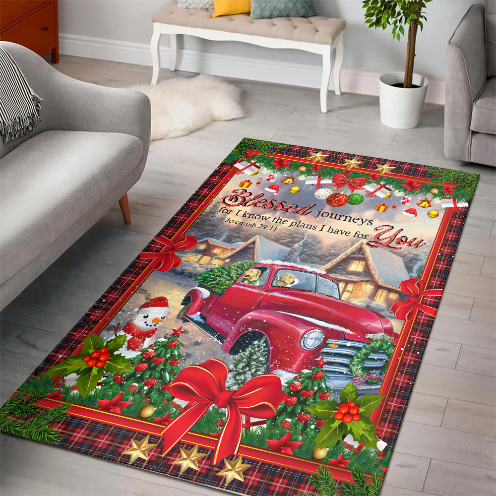 Personalized Blessed Journeys For I Know The Plans I Have For You Pattern 1 Vintage Area Rug Anti-Skid Floor Carpet For Living Room Dinning Room Bedroom Office