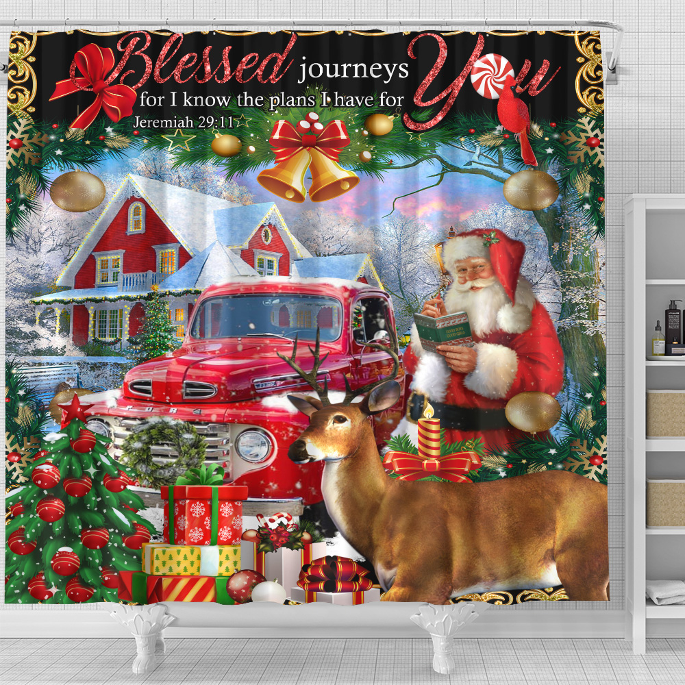 Personalized Shower Curtain Blessed Journeys For I Know The Plans I Have For You Pattern 2 Set 12 Hooks Decorative Bath Modern Bathroom Accessories Machine Washable