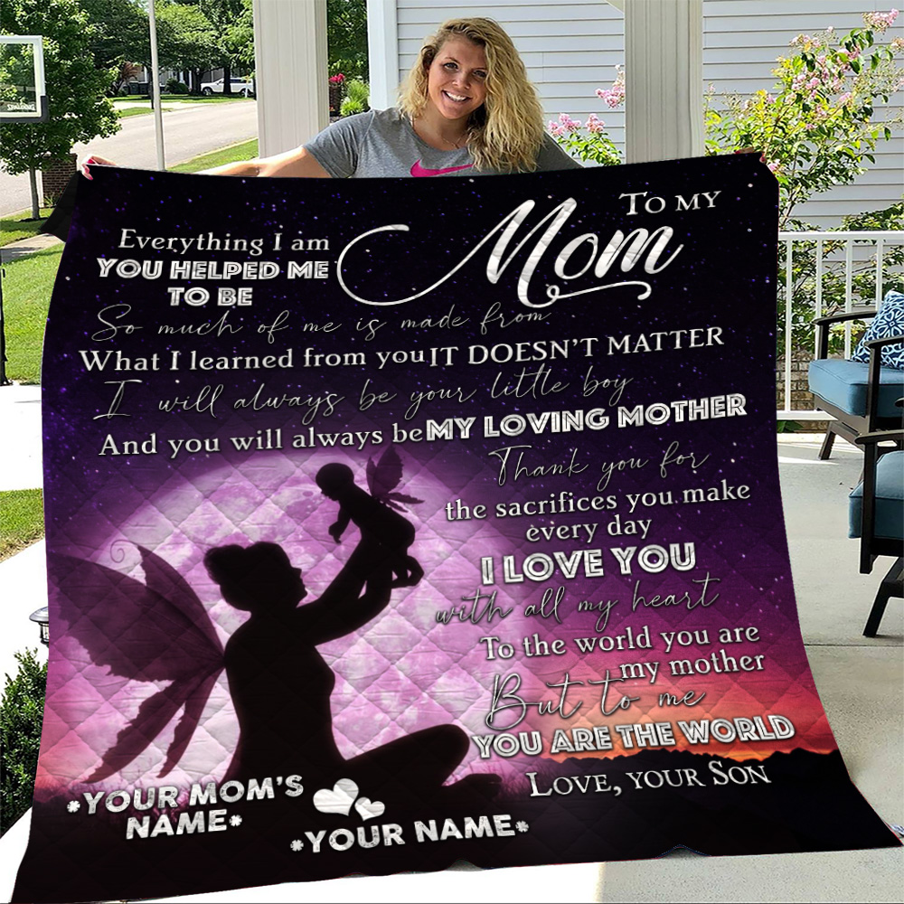 Personalized Lovely Quilt Throw Blanket To My Loving Mom Love You With All My Heart Pattern 1 Lightweight Super Soft Cozy For Decorative Couch Sofa Bed