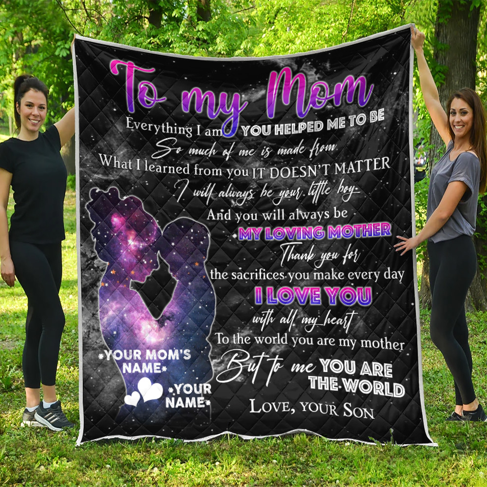 Personalized Lovely Quilt Throw Blanket To My Loving Mom Love You With All My Heart Pattern 2 Lightweight Super Soft Cozy For Decorative Couch Sofa Bed