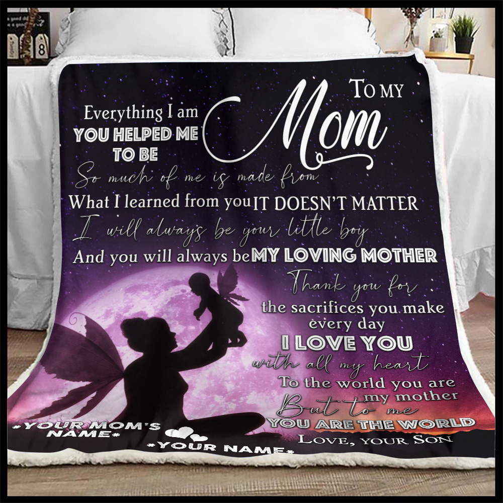 Personalized Lovely Fleece Throw Blanket To My Loving Mom Love You With All My Heart Pattern 1 Lightweight Super Soft Cozy For Decorative Couch Sofa Bed
