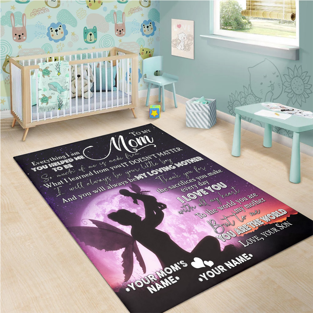 Personalized Lovely Rectangle Rug To My Loving Mom Love You With All My Heart Pattern 1 Vintage Area Rug Anti-Skid Floor Carpet For Living Room Dinning Room Bedroom Office