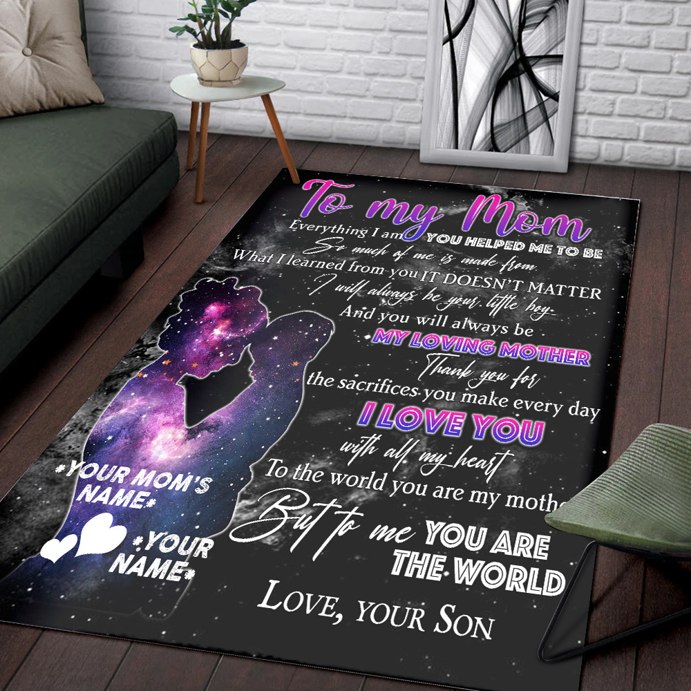 Personalized Lovely Rectangle Rug To My Loving Mom Love You With All My Heart Pattern 2 Vintage Area Rug Anti-Skid Floor Carpet For Living Room Dinning Room Bedroom Office