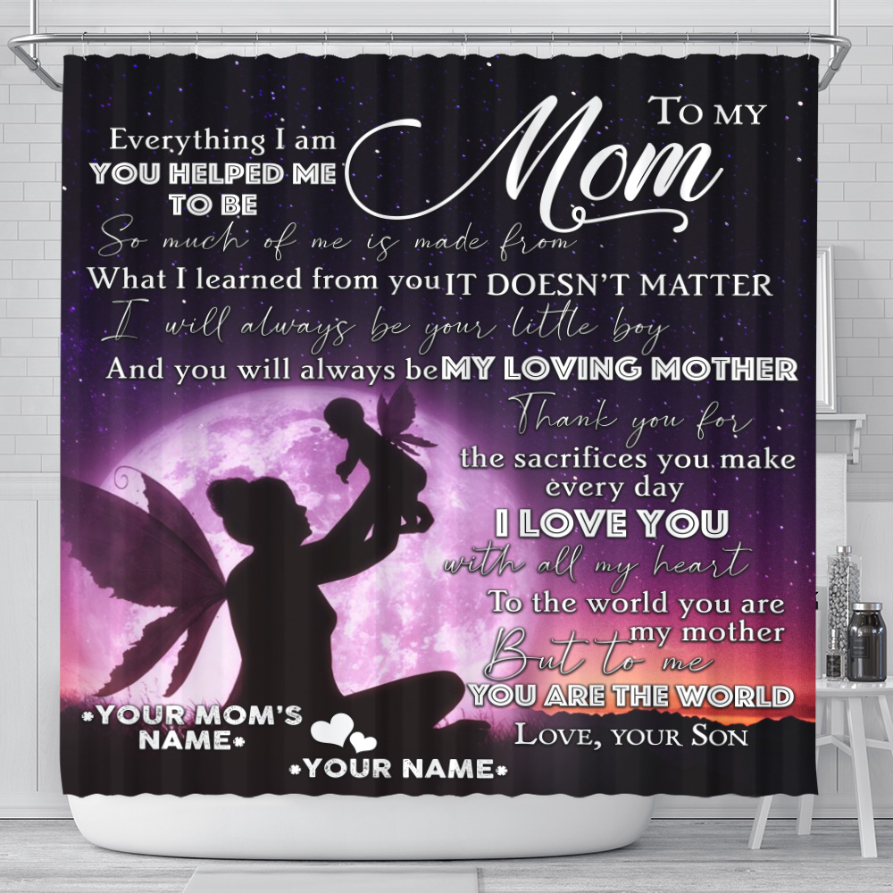 Personalized Lovely Shower Curtain To My Loving Mom Love You With All My Heart Pattern 1 Set 12 Hooks Decorative Bath Modern Bathroom Accessories Machine Washable