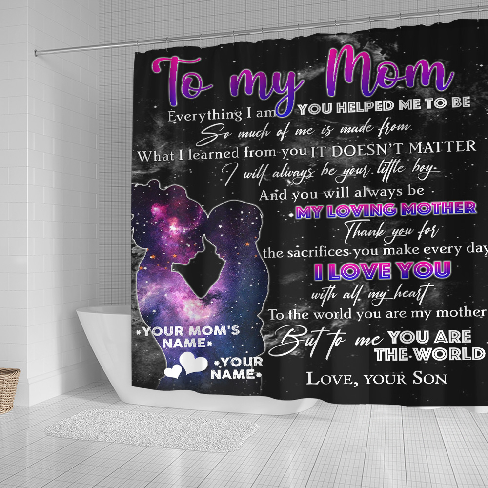 Personalized Lovely Shower Curtain To My Loving Mom Love You With All My Heart Pattern 2 Set 12 Hooks Decorative Bath Modern Bathroom Accessories Machine Washable