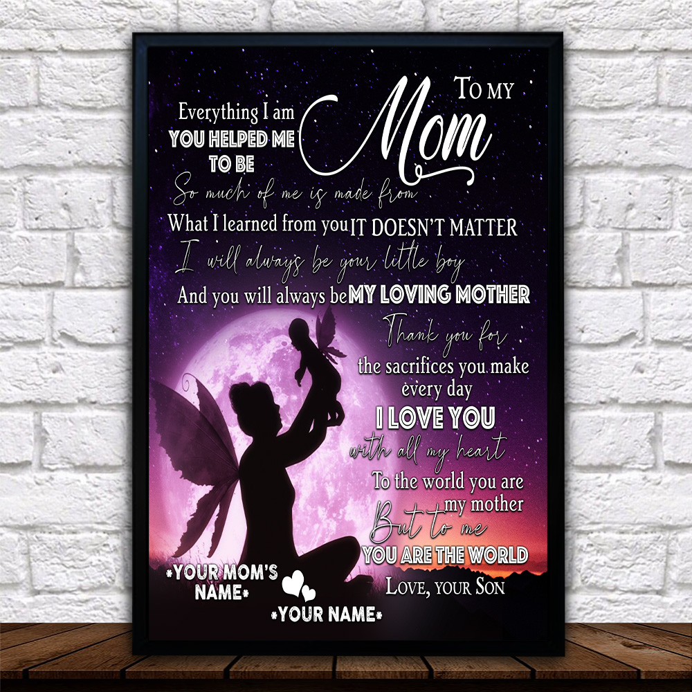 Personalized Lovely Wall Art Poster To My Loving Mom Love You With All My Heart Pattern 1 Prints Decoracion Wall Art Picture Living Room Wall