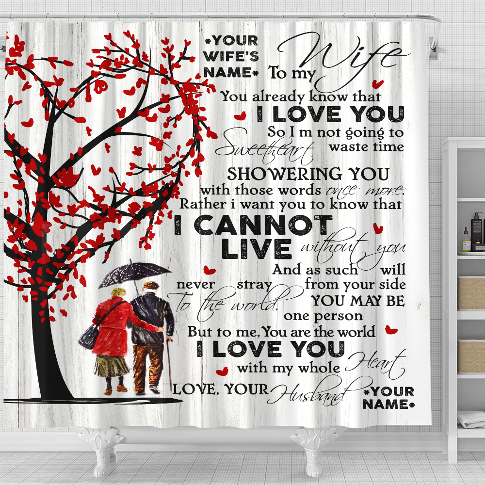 Personalized Shower Curtain 71 X 71 Inch To My Wife I Love You With My Whole Heart Set 12 Hooks Decorative Bath Modern Bathroom Accessories Machine Washable