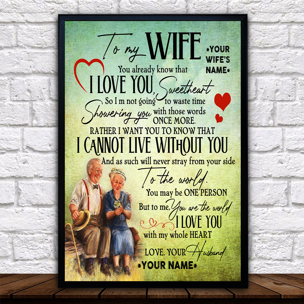 Personalized Wall Art Poster Canvas 1 Panel To My Wife I Love You With My Whole Heart Great Idea For Living Home Decorations Birthday Christmas Aniversary