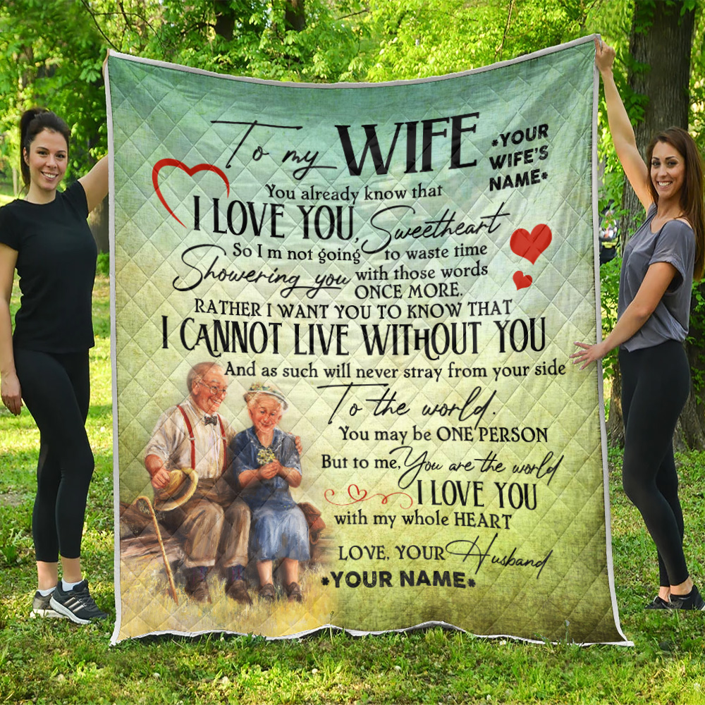 Personalized Quilt Throw Blanket To My Wife I Love You With My Whole Heart Lightweight Super Soft Cozy For Decorative Couch Sofa Bed