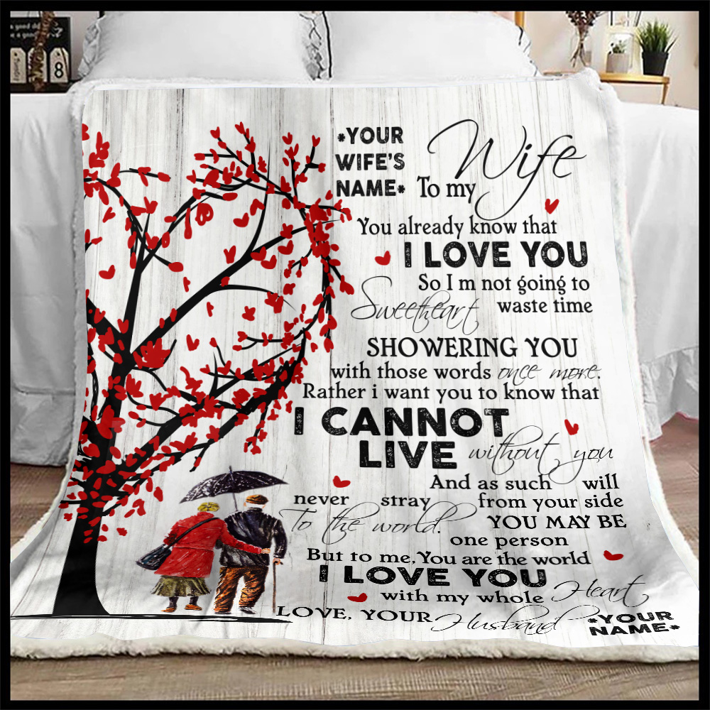 Personalized Fleece Throw Blanket To My Wife I Love You With My Whole Heart Lightweight Super Soft Cozy For Decorative Couch Sofa Bed