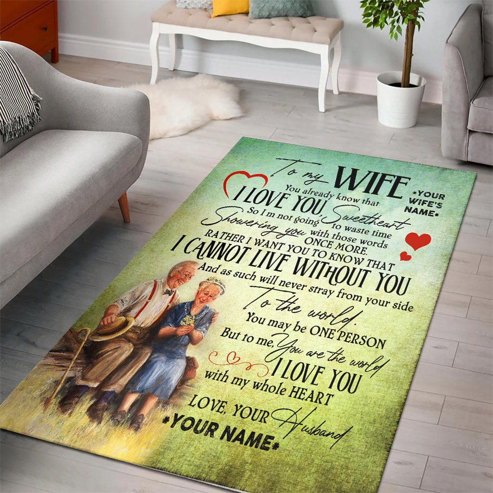 Personalized Floor Area Rugs To My Wife I Love You With My Whole Heart Indoor Home Decor Carpets Suitable For Children Living Room Bedroom Birthday Christmas Aniversary