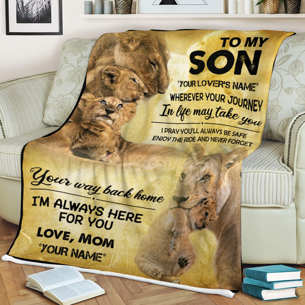 Personalized Fleece Throw Blanket To My Son Your Way Back Home I'm Always Here For You Lightweight Super Soft Cozy For Decorative Couch Sofa Bed