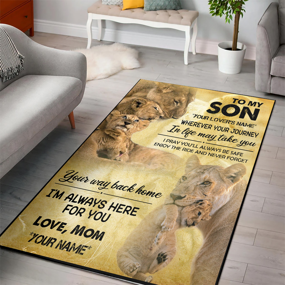Personalized Floor Area Rugs To My Son Your Way Back Home I'm Always Here For You Indoor Home Decor Carpets Suitable For Children Living Room Bedroom Birthday Christmas Aniversary