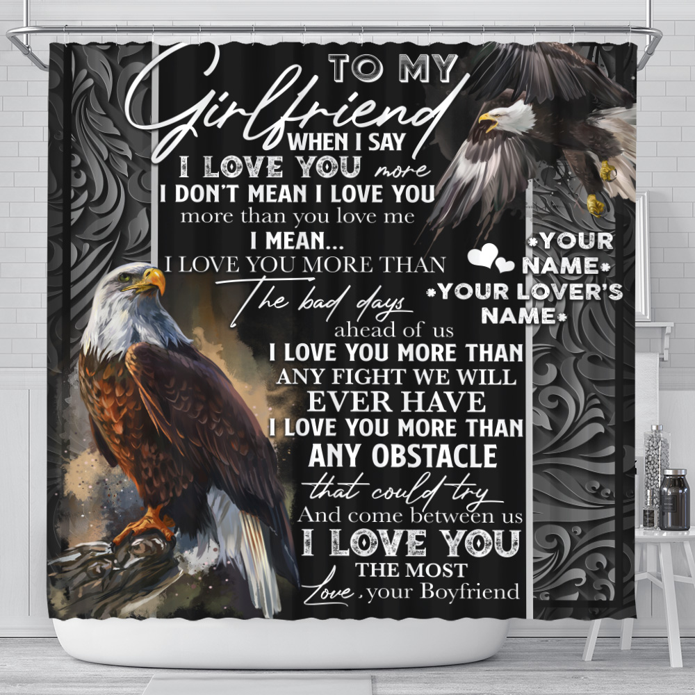 Personalized Lovely Shower Curtain To My Girlfriend I Love You More Than Any Obstacle Pattern 1 Set 12 Hooks Decorative Bath Modern Bathroom Accessories Machine Washable