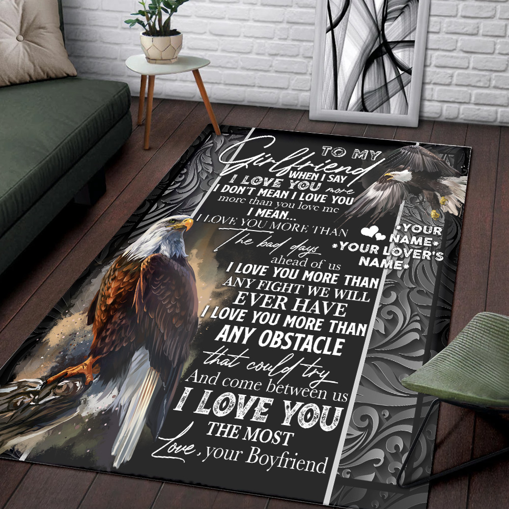 Personalized Lovely To My Girlfriend I Love You More Than Any Obstacle Pattern 1 Vintage Area Rug Anti-Skid Floor Carpet For Living Room Dinning Room Bedroom Office