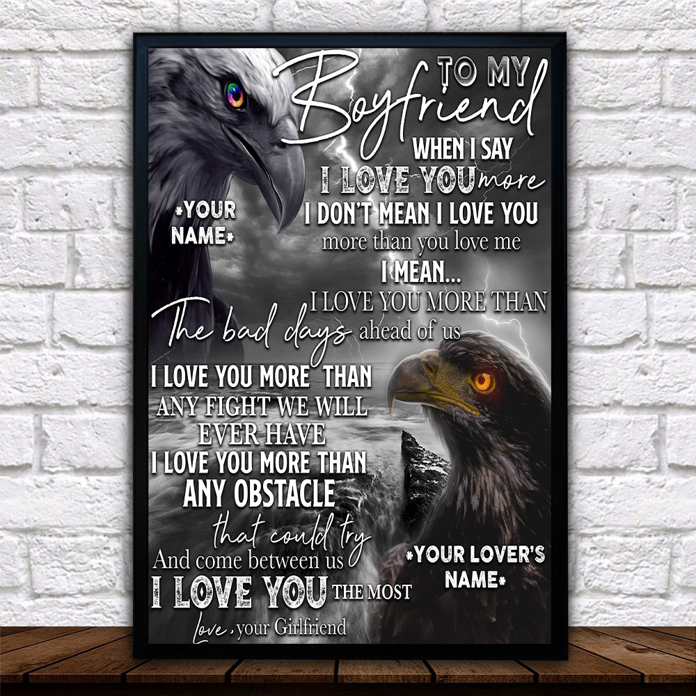 Personalized Lovely Wall Art Poster To My Boyfriend I Love You More Than Any Obstacle Pattern 2 Prints Decoracion Wall Art Picture Living Room Wall