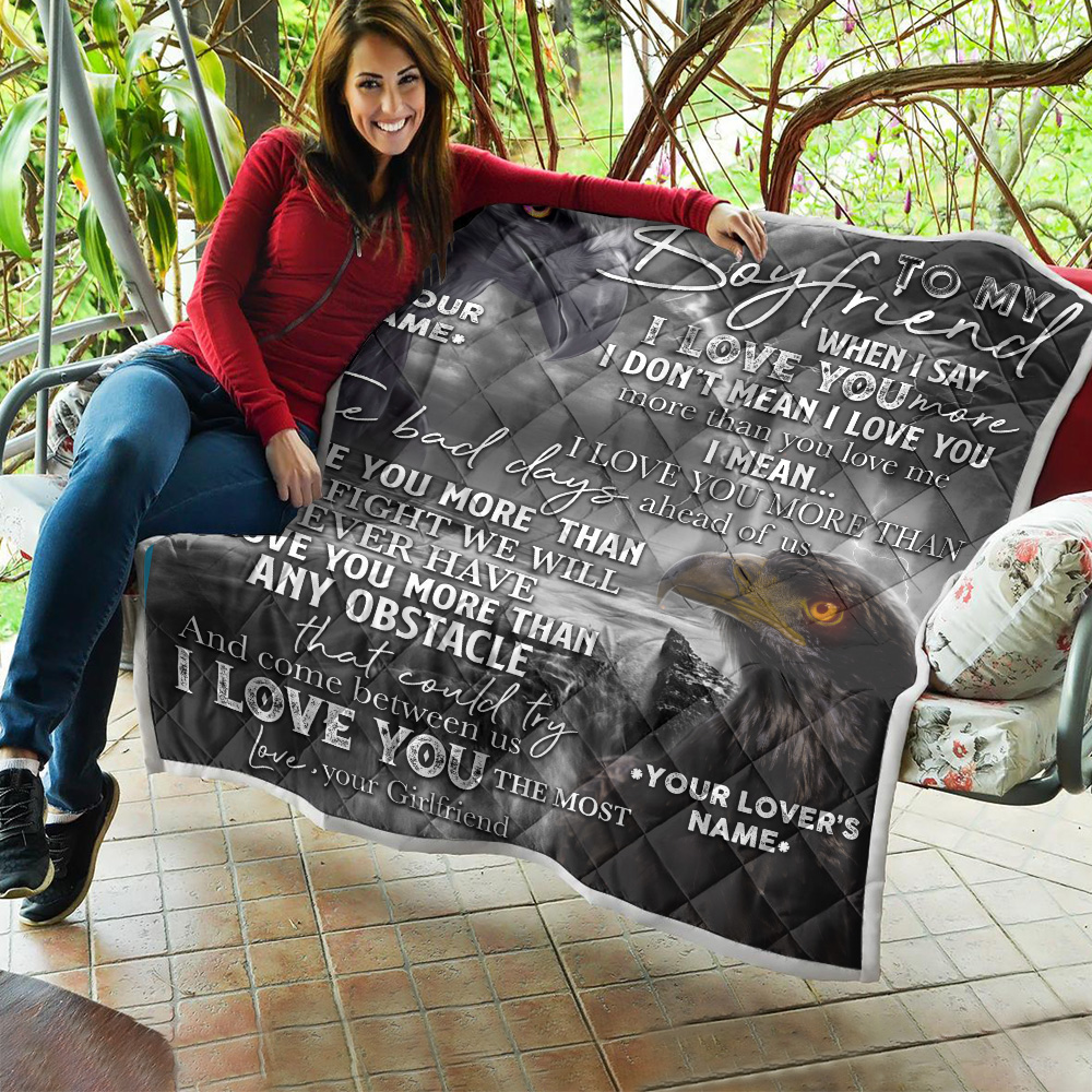 Personalized Lovely Quilt Throw Blanket To My Boyfriend I Love You More Than Any Obstacle Pattern 2 Lightweight Super Soft Cozy For Decorative Couch Sofa Bed