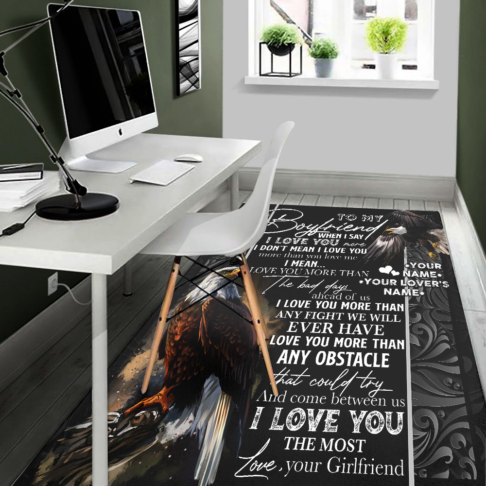 Personalized Lovely To My Boyfriend I Love You More Than Any Obstacle Pattern 1 Vintage Area Rug Anti-Skid Floor Carpet For Living Room Dinning Room Bedroom Office