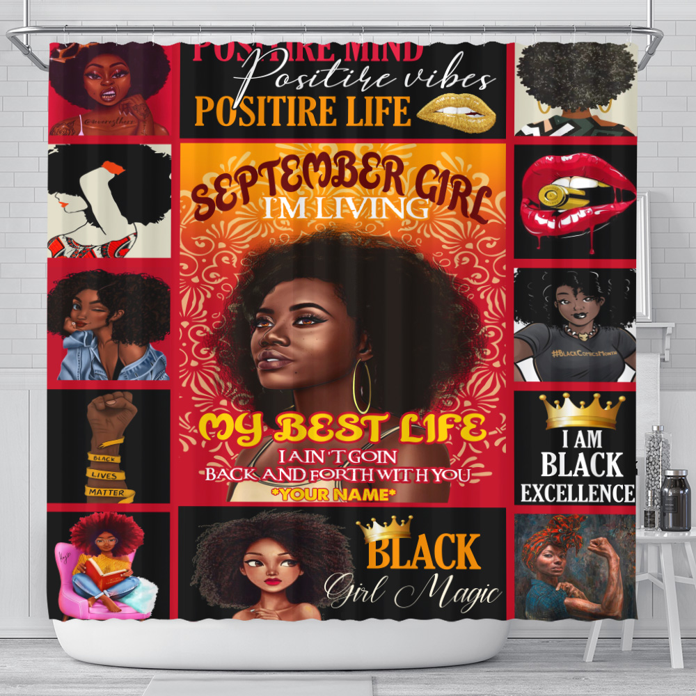 Personalized Shower Curtain September Girl I'm Living In My Best Life Pattern 1 Set 12 Hooks Decorative Bath Modern Bathroom Accessories Machine Washable
