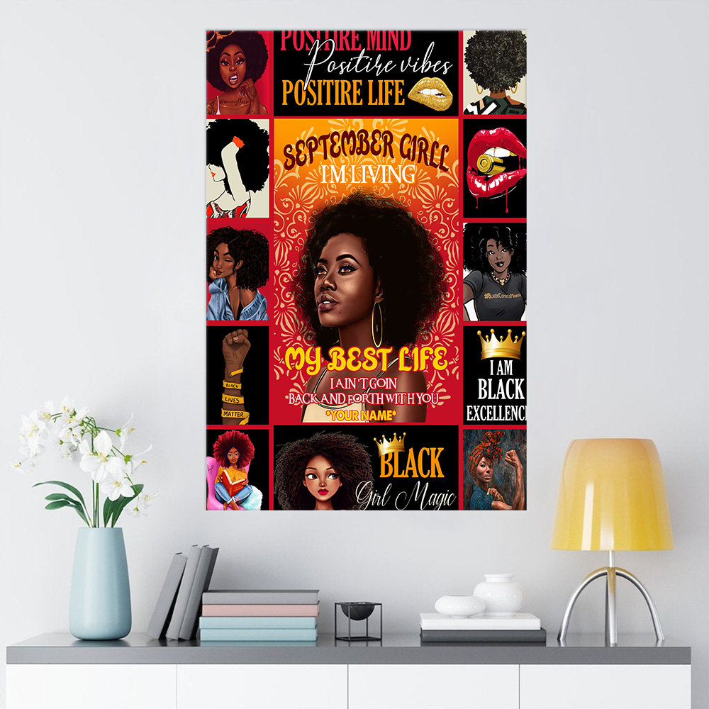Personalized Wall Art Poster September Girl I'm Living In My Best Life Pattern 1 Prints Decoracion Wall Art Picture Living Room Wall