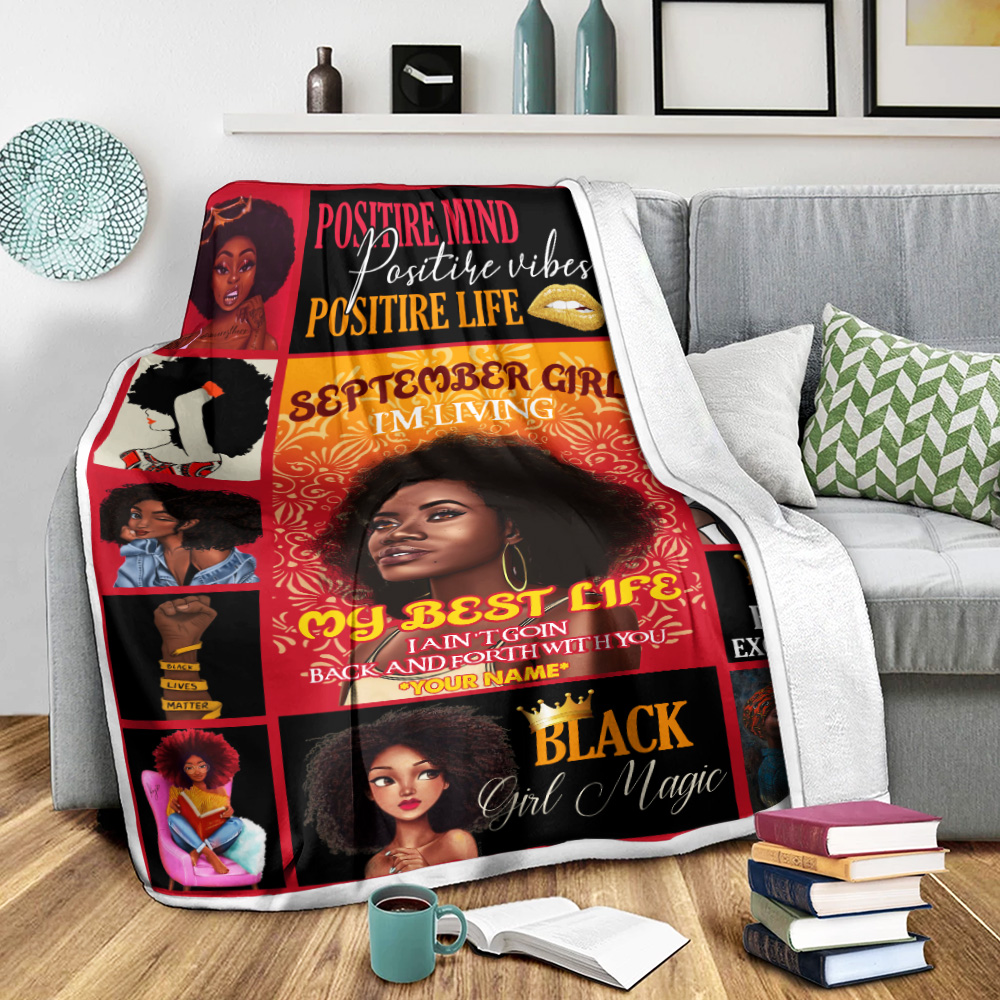 Personalized Fleece Throw Blanket September Girl I'm Living In My Best Life Pattern 1 Lightweight Super Soft Cozy For Decorative Couch Sofa Bed