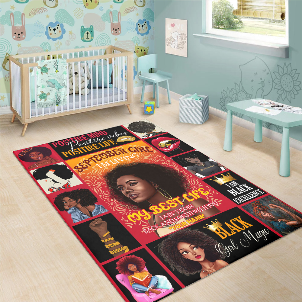 Personalized September Girl I'm Living In My Best Life Pattern 1 Vintage Area Rug Anti-Skid Floor Carpet For Living Room Dinning Room Bedroom Office