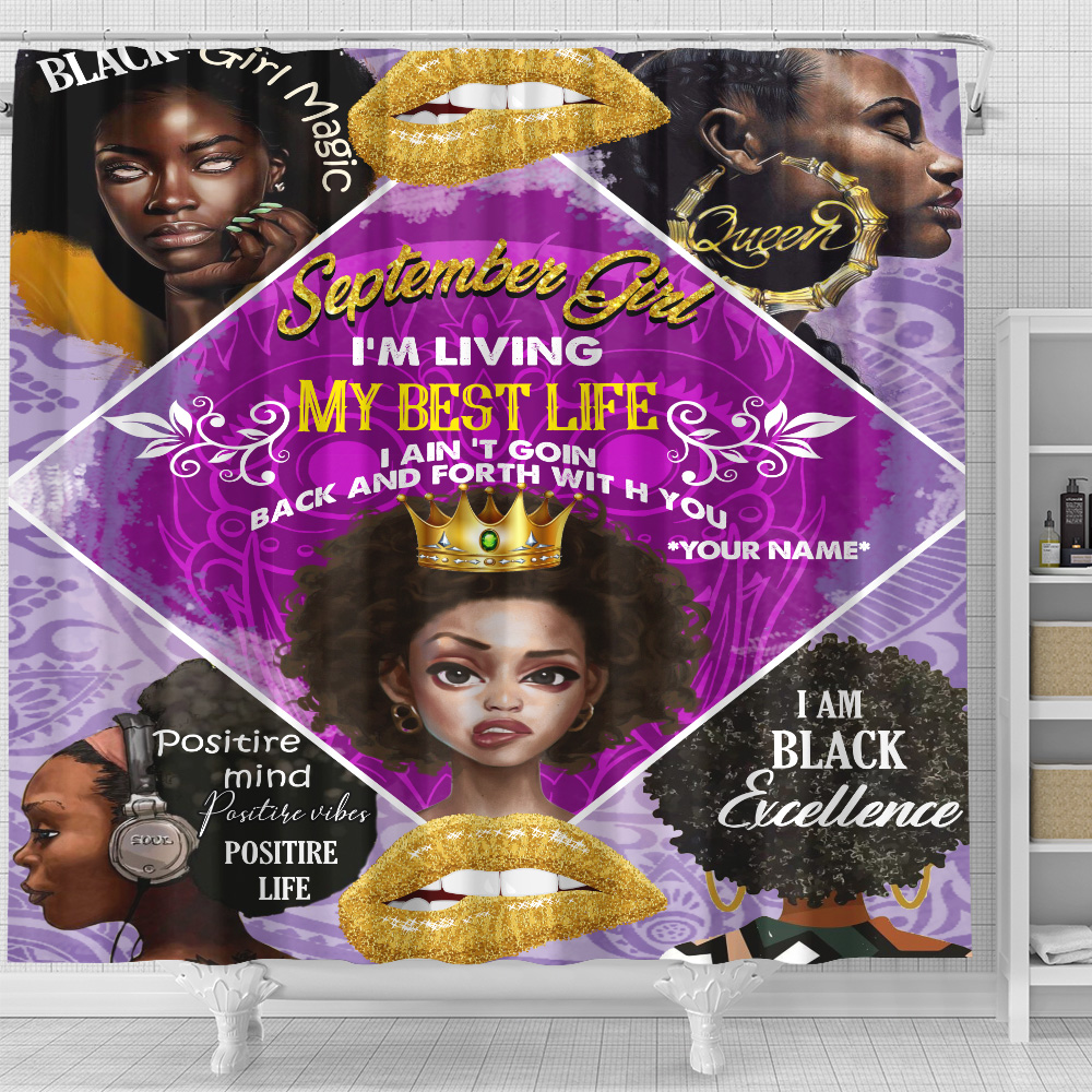 Personalized Shower Curtain September Girl I'm Living In My Best Life Pattern 2 Set 12 Hooks Decorative Bath Modern Bathroom Accessories Machine Washable
