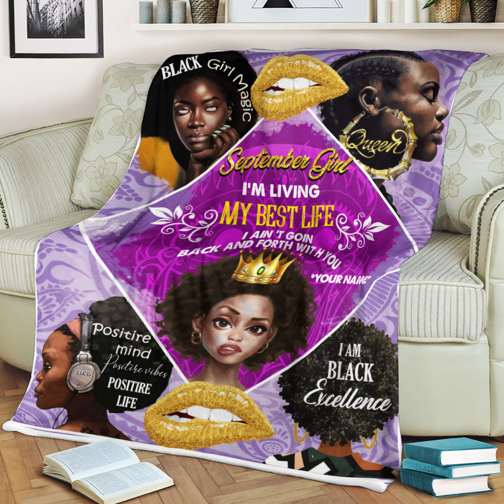 Personalized Fleece Throw Blanket September Girl I'm Living In My Best Life Pattern 2 Lightweight Super Soft Cozy For Decorative Couch Sofa Bed
