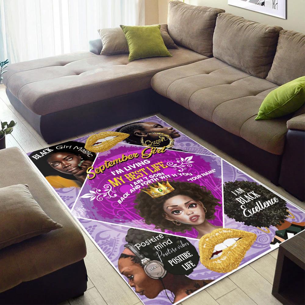 Personalized September Girl I'm Living In My Best Life Pattern 2 Vintage Area Rug Anti-Skid Floor Carpet For Living Room Dinning Room Bedroom Office