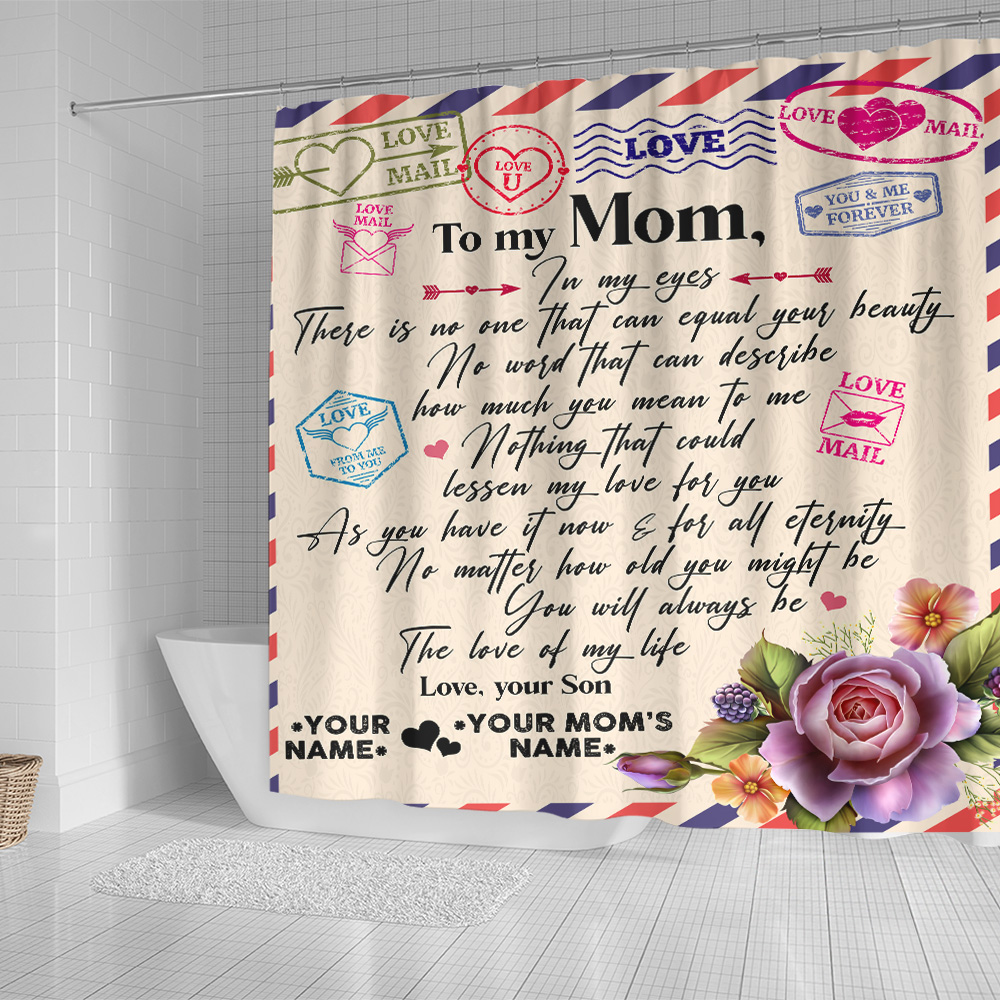 Personalized Lovely Shower Curtain To My Mom No One Can Equal Your Beauty In My Eyes Pattern 2 Set 12 Hooks Decorative Bath Modern Bathroom Accessories Machine Washable