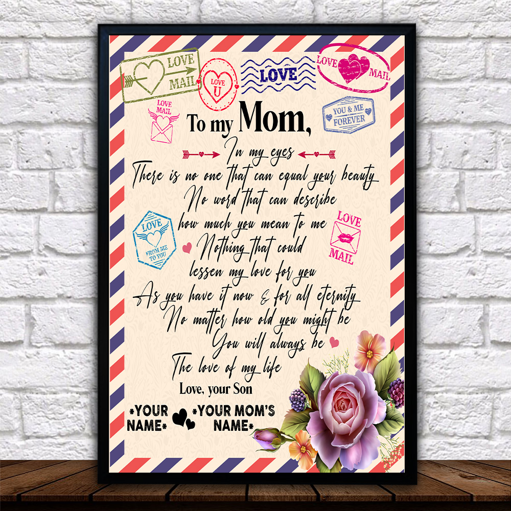 Personalized Lovely Wall Art Poster To My Mom No One Can Equal Your Beauty In My Eyes Pattern 2 Prints Decoracion Wall Art Picture Living Room Wall
