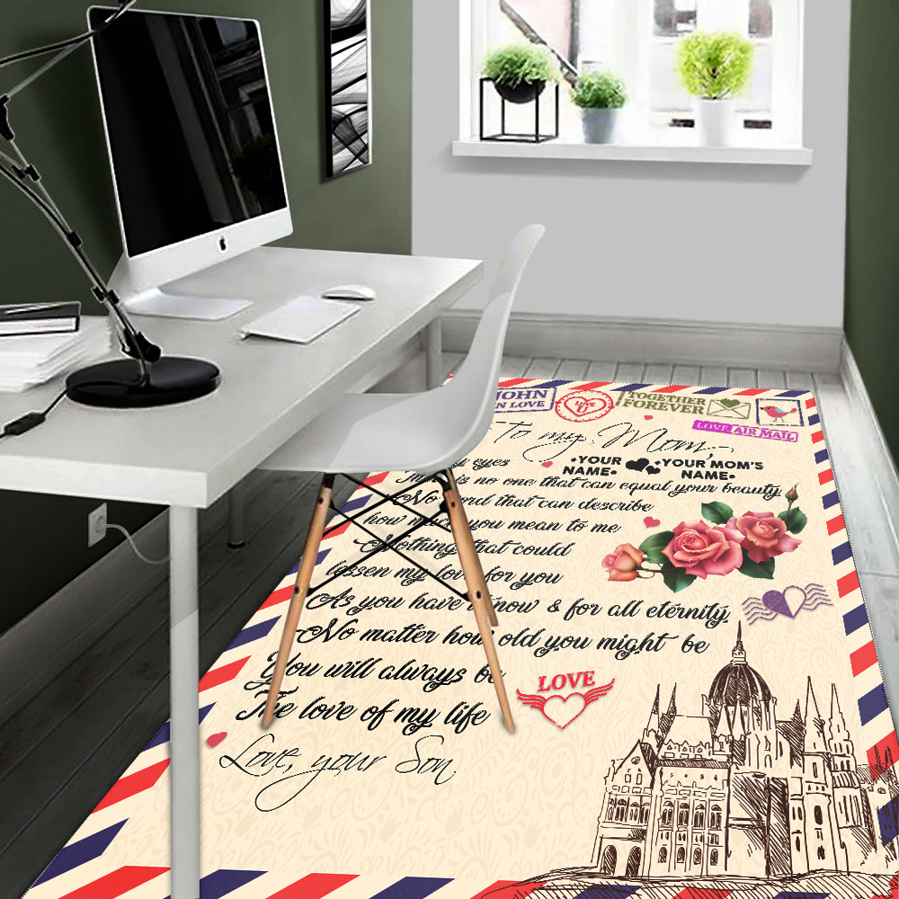 Personalized Lovely To My Mom No One Can Equal Your Beauty In My Eyes Pattern 1  Vintage Area Rug Anti-Skid Floor Carpet For Living Room Dinning Room Bedroom Office