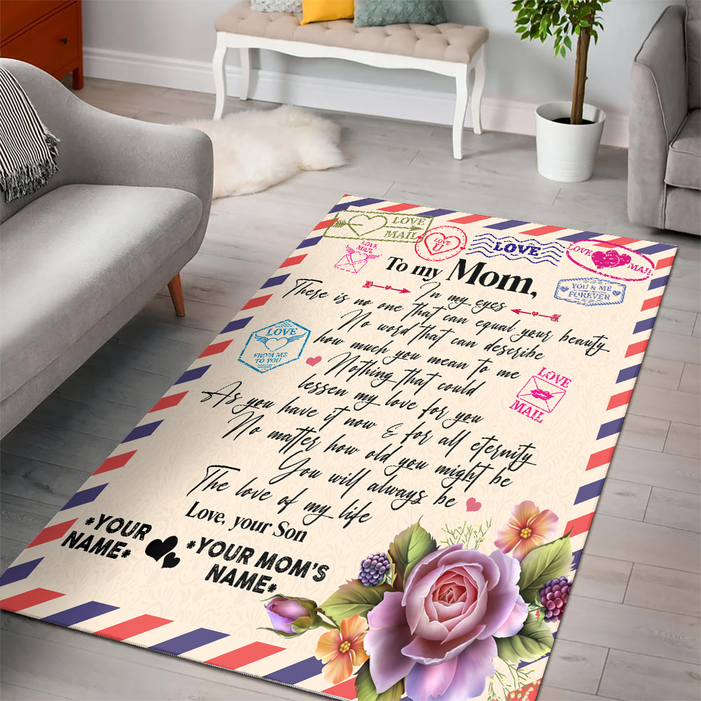 Personalized Lovely To My Mom No One Can Equal Your Beauty In My Eyes Pattern 2 Vintage Area Rug Anti-Skid Floor Carpet For Living Room Dinning Room Bedroom Office