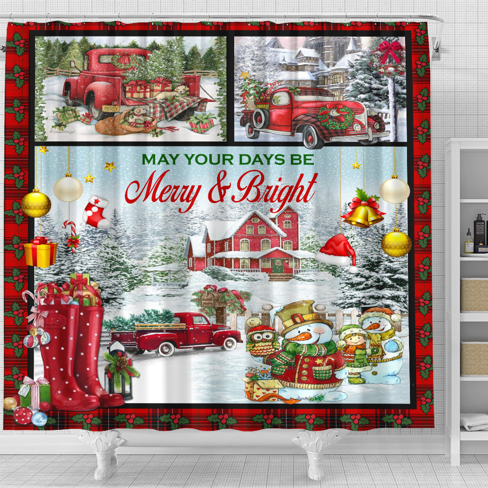 Personalized Shower Curtain 71 X 71 Inch May Your Days Be Merry And Bright Pattern 1 Set 12 Hooks Decorative Bath Modern Bathroom Accessories Machine Washable
