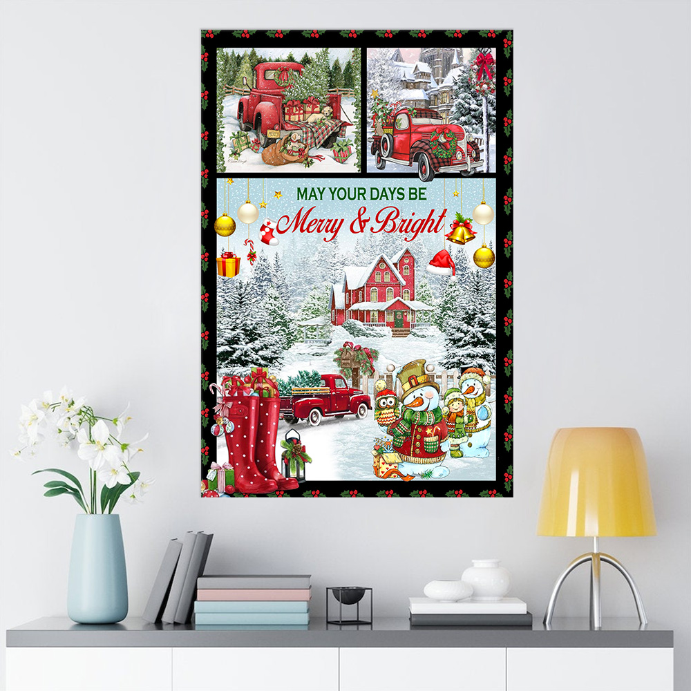 Personalized Wall Art Poster Canvas 1 Panel May Your Days Be Merry And Bright Pattern 1 Great Idea For Living Home Decorations Birthday Christmas Aniversary
