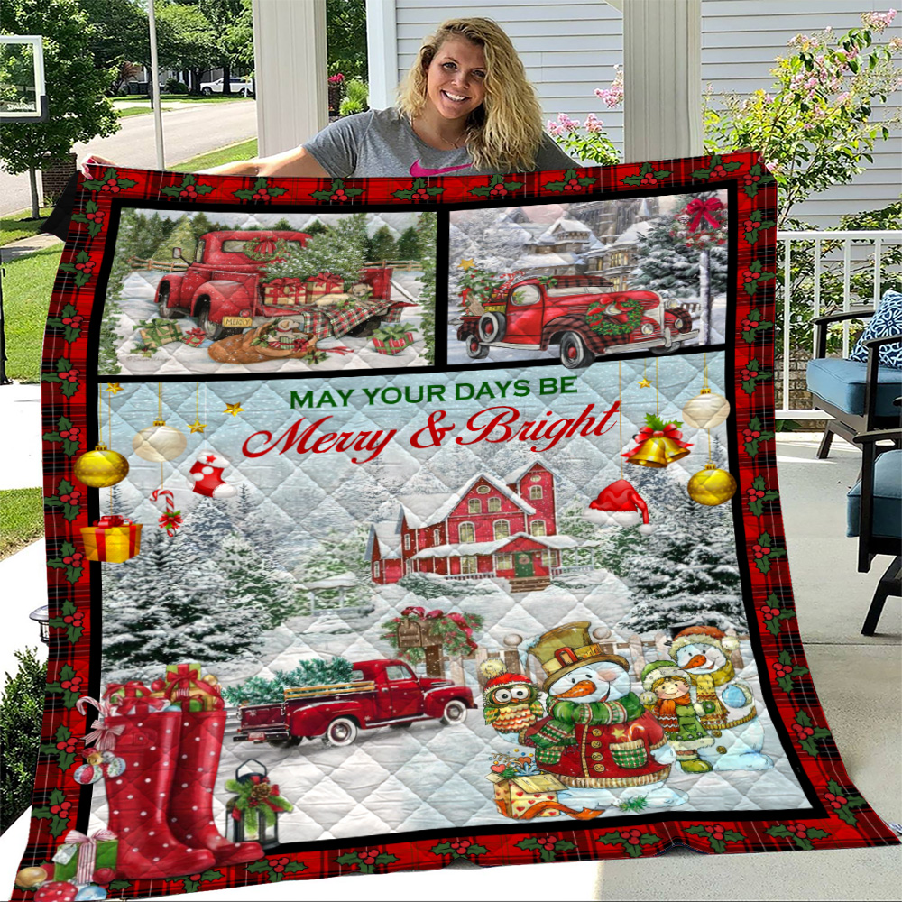 Personalized Quilt Throw Blanket May Your Days Be Merry And Bright Pattern 1 Lightweight Super Soft Cozy For Decorative Couch Sofa Bed