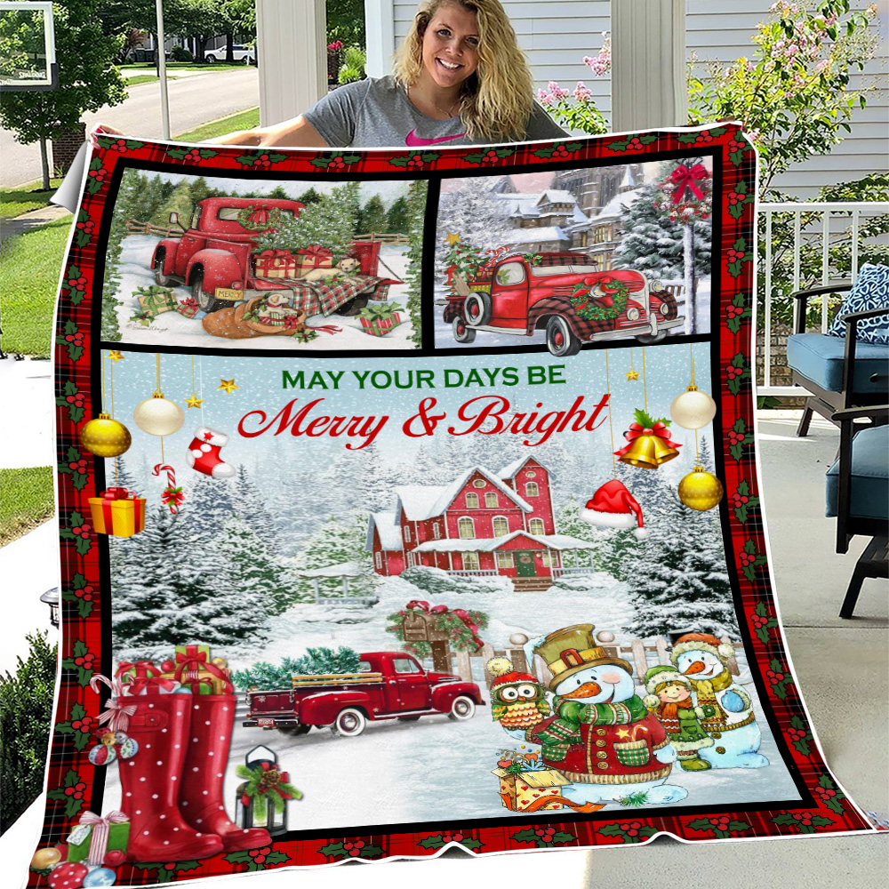 Personalized Fleece Throw Blanket May Your Days Be Merry And Bright Pattern 1 Lightweight Super Soft Cozy For Decorative Couch Sofa Bed