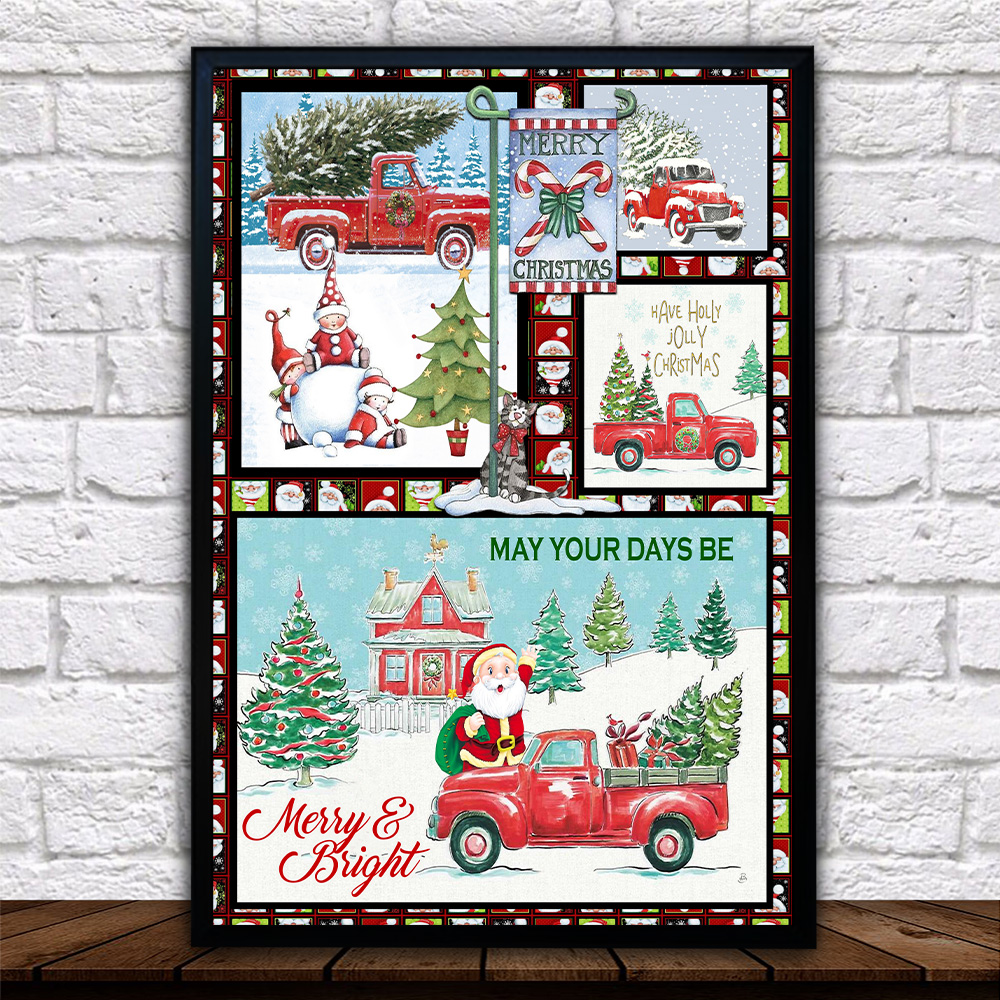 Personalized Wall Art Poster Canvas 1 Panel May Your Days Be Merry And Bright Pattern 2 Great Idea For Living Home Decorations Birthday Christmas Aniversary
