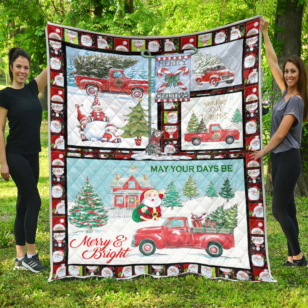 Personalized Quilt Throw Blanket May Your Days Be Merry And Bright Pattern 2 Lightweight Super Soft Cozy For Decorative Couch Sofa Bed