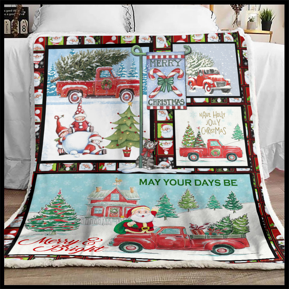 Personalized Fleece Throw Blanket May Your Days Be Merry And Bright Pattern 2 Lightweight Super Soft Cozy For Decorative Couch Sofa Bed