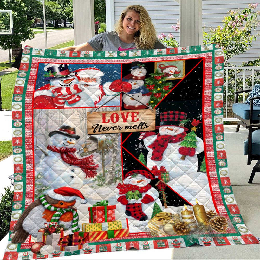 Personalized Quilt Throw Blanket Love Never Melts Snowman Pattern 1 Lightweight Super Soft Cozy For Decorative Couch Sofa Bed