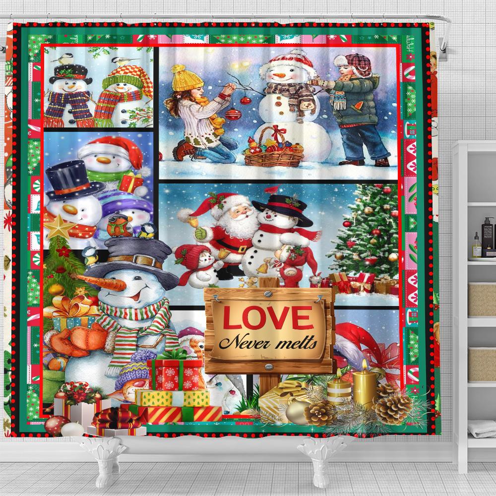Personalized Shower Curtain 71 X 71 Inch Love Never Melts Snowman Pattern 2 Set 12 Hooks Decorative Bath Modern Bathroom Accessories Machine Washable