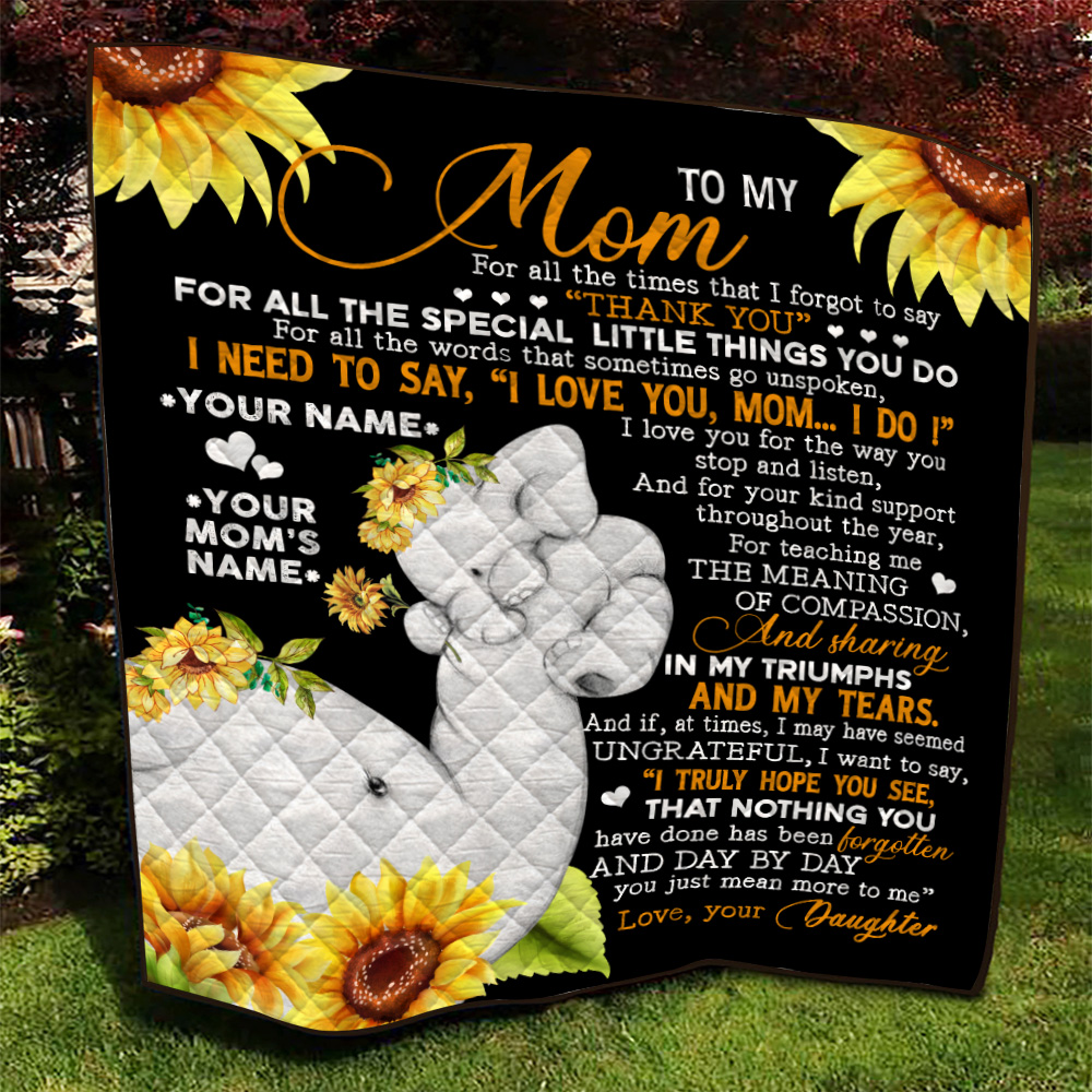 Personalized Lovely Quilt Throw Blanket To My Mom I Need To Say I Love You Pattern 1 Lightweight Super Soft Cozy For Decorative Couch Sofa Bed