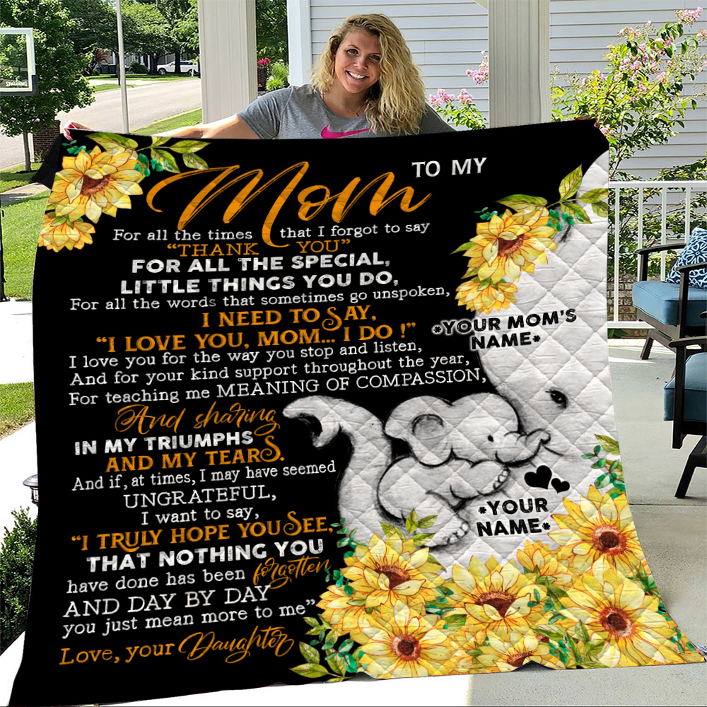 Personalized Lovely Quilt Throw Blanket To My Mom I Need To Say I Love You Pattern 2 Lightweight Super Soft Cozy For Decorative Couch Sofa Bed