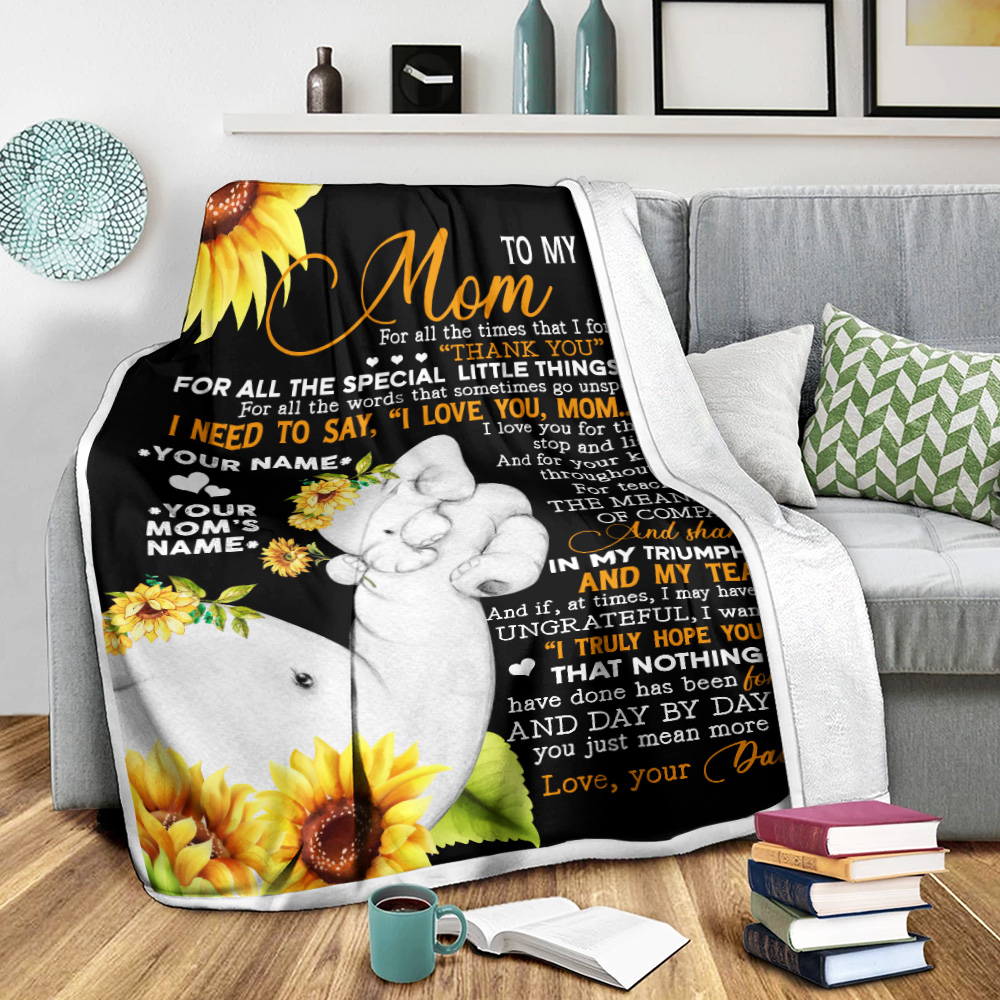 Personalized Lovely Fleece Throw Blanket To My Mom I Need To Say I Love You Pattern 1 Lightweight Super Soft Cozy For Decorative Couch Sofa Bed